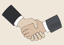 Handshake men. Flat drawing. Vector illustration Business concept Royalty Free Stock Photography