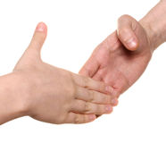 Handshake. Men and woman hands Stock Images
