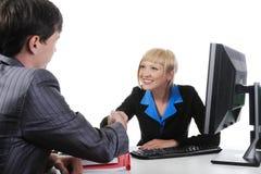 Handshake men and women. Stock Photo
