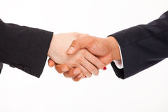 Handshake men and women. Isolated on white background