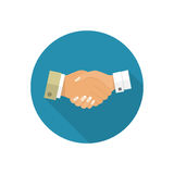Handshake men and women icon. Handshake of business people partners businessmen and businesswomen. Hand shaking meeting agreement. Vector flat design. Symbol stock illustration