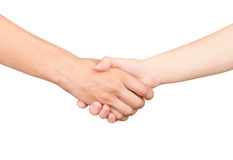 Handshake, men and women Stock Photos
