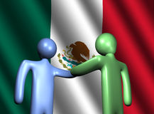 Handshake with Mexican flag illustration Stock Image