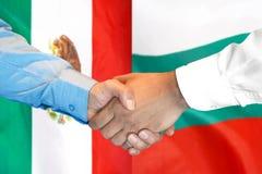 Handshake on Mexico and Bulgaria flag background. Business handshake on the background of two flags. Men handshake on the background of the Mexico and Bulgaria royalty free stock photos