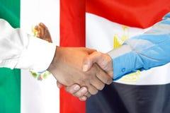 Handshake on Mexico and Egypt flag background. Business handshake on the background of two flags. Men handshake on the background of the Mexico and Egypt flag royalty free stock images
