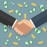 Handshake money bg in flat style Royalty Free Stock Images