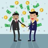 Handshake money bg in flat style Royalty Free Stock Photography