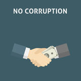 Handshake with money. Corruption Concept Illustration. Two people handshake deal with bribe money Royalty Free Stock Photo
