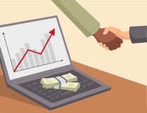 Handshake and money on laptop. Business handshake and money on laptop royalty free illustration