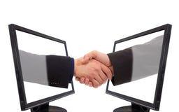 Handshake monitor Stock Image