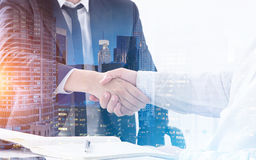 Handshake in morning city Royalty Free Stock Images