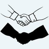 handshake Na błękitny tle Zdjęcia Royalty Free