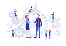 Handshake Of Business People. Miniature Cartoon Illustration Vector Graphic Stock Images