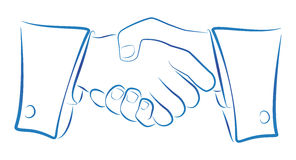 Handshake Outline. Ink blue outline illustration of a handshake Royalty Free Stock Images
