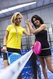 Handshake of paddle tennis players. Stock Photo