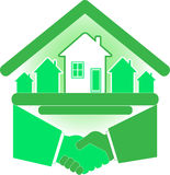 Handshake partners. And successful real estate agreement vector illustration