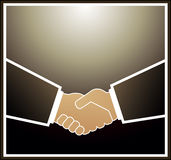 Handshake partners. Image of handshake in brown quadrate frame Royalty Free Stock Photos