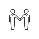 Handshake, partnership line icon, outline vector sign, linear style pictogram isolated on white. Symbol, logo illustration. Editab. Le stroke. Pixel perfect Royalty Free Stock Images