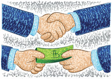 Handshake and payment illustration Stock Image