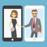 Handshake between people. Handshake between business people. Smart phone technology.Vector illustration vector illustration