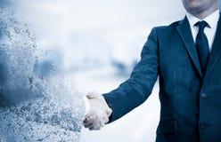 handshake Pojęcie no jest rzetelnego partnera w biznesie Skutek zawalenie się Fotografia Stock