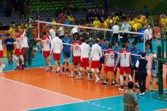Handshake between Poland and Argentina at Rio2016 Royalty Free Stock Photo