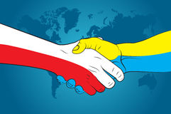 Handshake Poland and Ukraine Royalty Free Stock Image