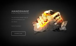 Handshake polygonal wireframe art on black backgraund. Hands of a person or a robot. The concept of steel hands. Polygonal stock illustration