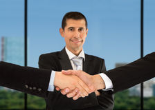 Handshake and portrain Stock Photography