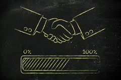 Handshake with progress bar loading Royalty Free Stock Image