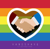 Handshake with rainbow colors for gay pride Stock Image