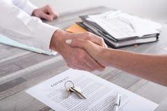 Handshake in a real estate transaction Stock Image