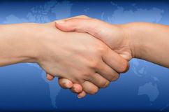 Handshake for refugees Stock Photo