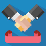Handshake and Ribbon Royalty Free Stock Images