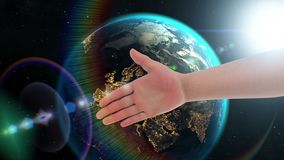 Handshake with robot in space. Handshake with robot, 3d animation concept in space on Earth background. Textures of Planet were created in graphic editor without stock illustration