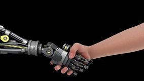 Handshake with a Robot. 3D animation. Transparent background ProRes 4444 with alpha channel in 4k UHD resolution version stock illustration