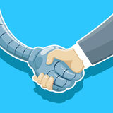 Handshake of robot and man Stock Photography