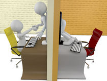 Handshake through screens of laptops. Two characters handshake through screens of laptops stock illustration