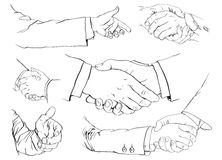 Handshake set. 6 illustrations of a handshake Stock Photo