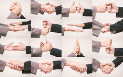Handshake set. Different poses with two business men shaking hands Royalty Free Stock Photos