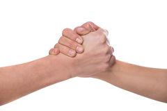 Handshake. Shaking hands of two male people, isolated on white background Royalty Free Stock Image