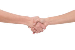 Handshake. Shaking hands of two people, isolated on white background Stock Images