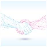 Handshake sign icon.Polygonal  . Stock Photography