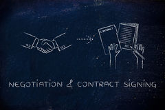 Handshake & signed documents: negotiation & contract signing Stock Photos