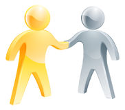 Handshake silver and gold people concept. Handshake silver and gold people. Business concept of two stylized figures shaking hands Stock Photo