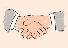 Handshake sketch drawing. Symbol of friendship partnership and cooperation Stock Photos