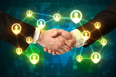 Handshake, social netwok concept. Business handshake, social netwok concept royalty free stock photography