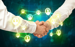 Handshake, social netwok concept Stock Image