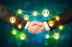 Handshake, social netwok concept Stock Photo