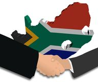 Handshake with South Africa map flag Stock Photos